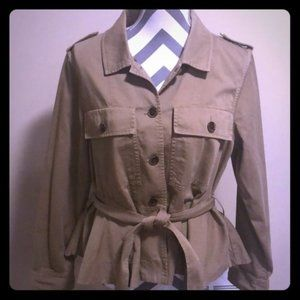 J. Crew Peplum Chino Khaki Short Trench Coat Large